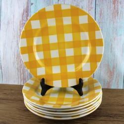 vintage-sarreguemines-assiettes-modèle-écossais-jaune