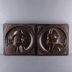 paire-de-médaillon-bois-sculpté-fin-XXème