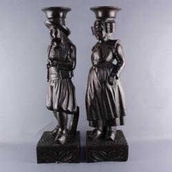 ancienne-statue-personnage-bois-sculpté-couple-breton