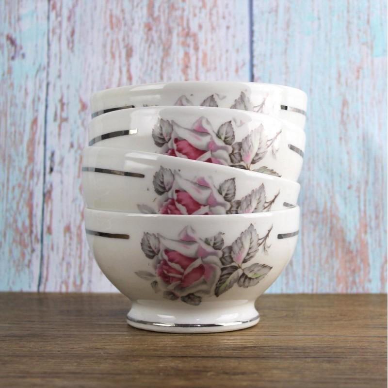 4-bols-vintage-fleurs-genuine-porcelaine-france-DVR