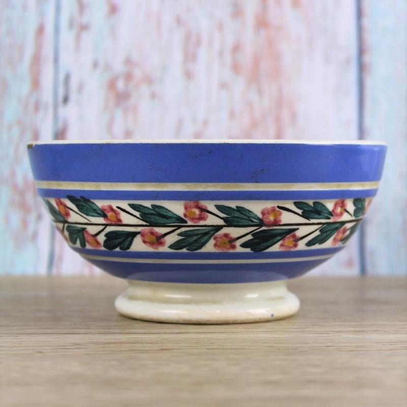 ancien-bol-Sarreguemines-vaisselle-vintage-bleu-à-fleurs