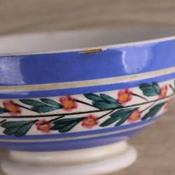 Bol-vintage-digoin-sarreguemines-bleu-à-fleurs
