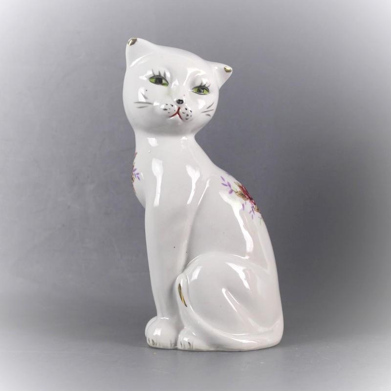 statuette-chat-céramique-décor-fleur