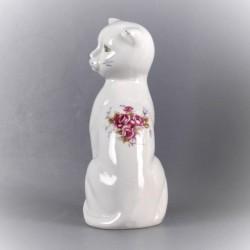 statuette-chat-céramique-décor-fleur-vintage