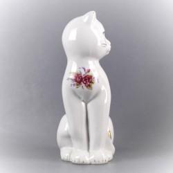 statuette-chat-céramique-décor-fleur-décoration-ancienne