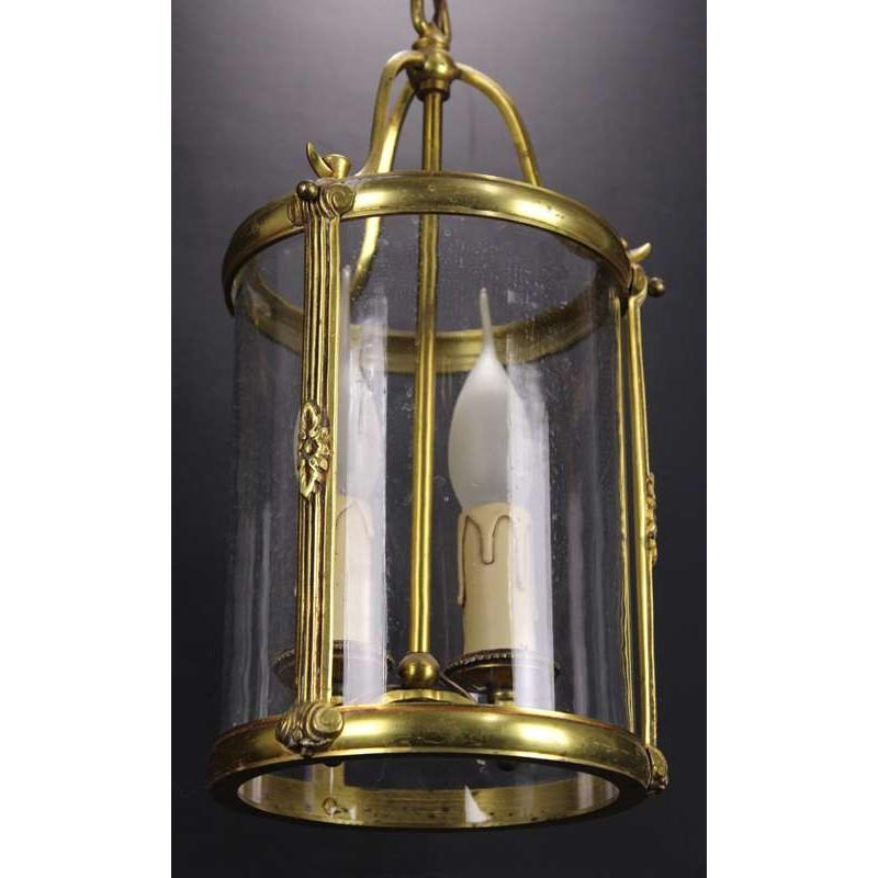 Lanterne en Bronze et Laiton  de style Louis XVI Suspension Verre Épais