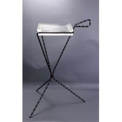 Cendrier-Vide-Poche-Pave-de-Verre-sur-Pied-en-Metal-Tripode-Minimaliste-Style-Moderniste