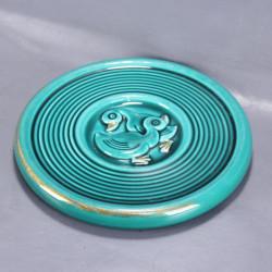 dessous-de-plat-rond-ancien-en-céramique-vert