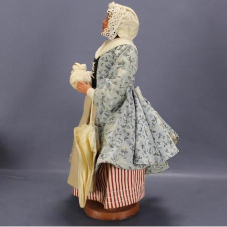 Statuette chat rose porcelaine 22 cm