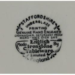 Assiette Creuse Staffordshire Rouge et Blanc