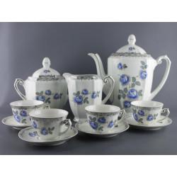 Service à café  à fleurs bleues