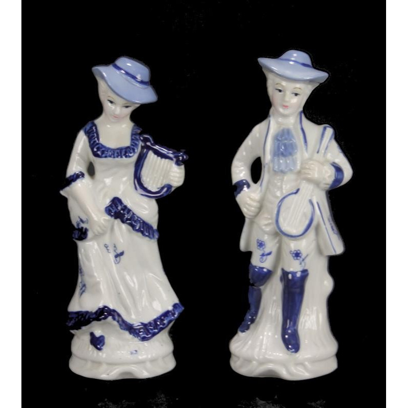 Couple Céramique Bleu et Blanc