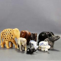 éléphants-pour-collection-en-bois-pierre-porcelaine