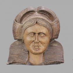 décoration-murale-Paire-de-personnages-breton-en-bois-sculpté
