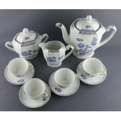 Service à café  à fleurs bleues, 11 pièces