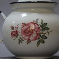 ancienne-Théière-en-tôle-émaillée-ancienne-décor-floral
