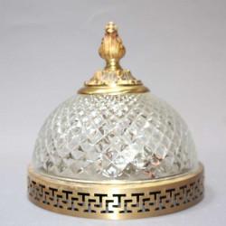 plafonnier-bronze-dôme-en-verre-ciselé-style-Louis-XV