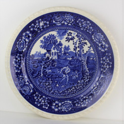 Globe opaline bleu 23 cm diamètre base