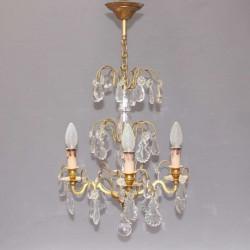 Lustre-à-pampilles-ancien-en-bronze-verre-et-cristal.