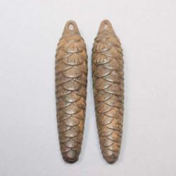Poids-anciens-pomme-de-pin-pour-horloge-coucou