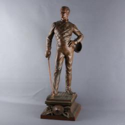 L.-Raphaël-statue-en-regule-L-escrimeur