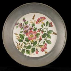 Assiette Décorative Fleurs Cadre Etain