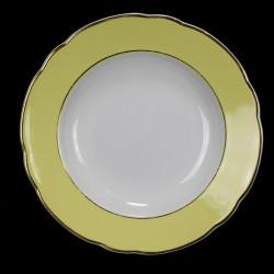 6 Assiettes Creuses Luneville Badonviller Jaune  blanc et Or